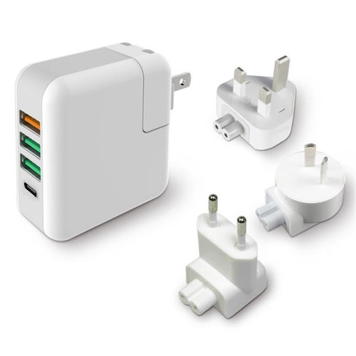 25W 4-Port USB Quick Charge 3.0 + Type-C Travel Adapter Wall Charger